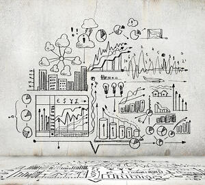 Sketch image with business ideas diagrams and graphs